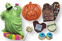 An assortment of Disney Halloween themed treats, including one shaped like Oogie Boogie