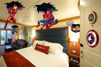 A Disney Cruise Line stateroom with Iron Man, Thor, Captain America and Spider Man decorations