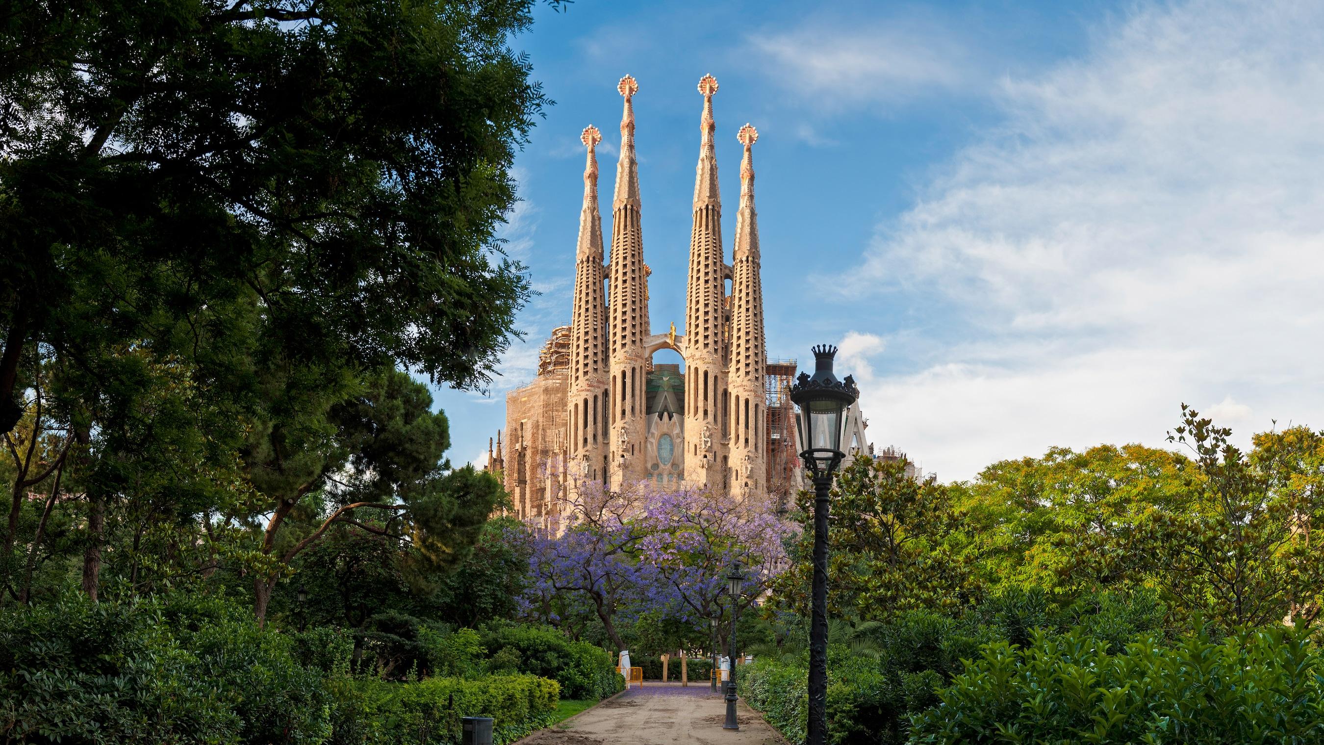 Las ricamente adornadas agujas de la Catedral de Barcelona se distinguen al final de un sendero revestido de exuberante vegetación