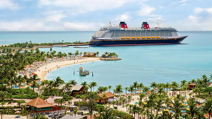 A Majestic Disney Cruise Line Ship Docked at Disney's Castaway Cay