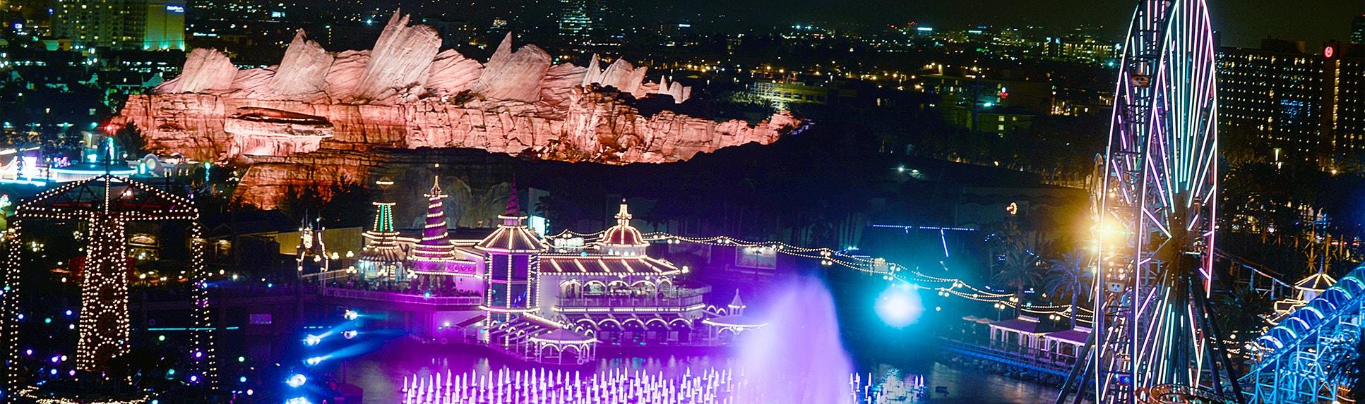 Disney California Adventure Park illuminated at night