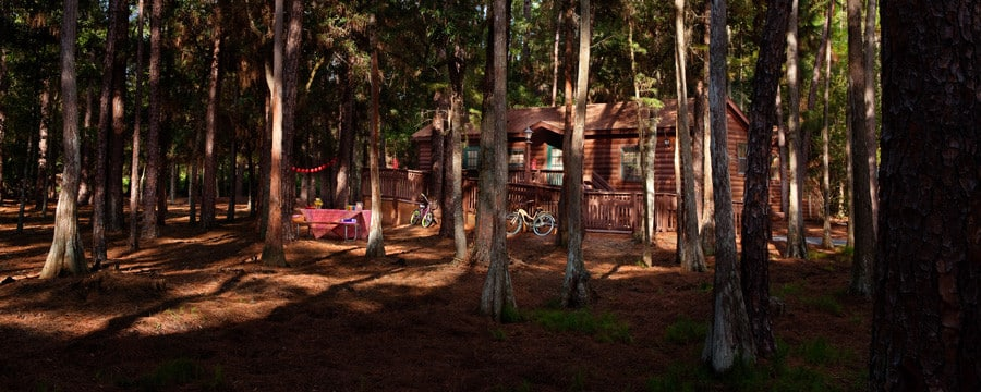 A Cabin And Picnic Table At The Cabins At Disneyu0027s Fort Wilderness Resort  In Florida