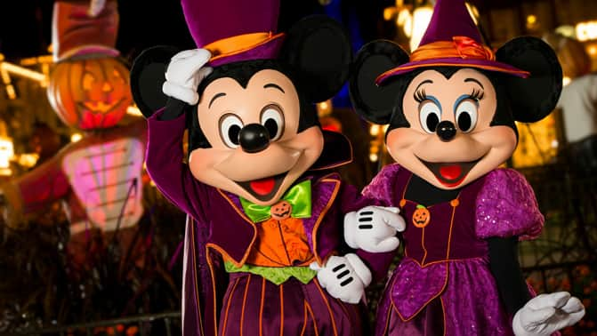 mickey and minnie mouse dressed in halloween themed clothing - Mickey Not So Scary Halloween Party Tickets