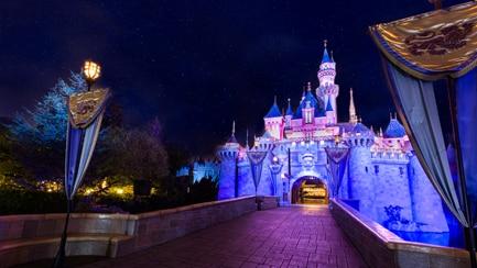 Sleeping Beauty Castle at Disneyland Park, illuminated at night